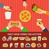 Bannières plates de mains d'icônes d'aliments de préparation rapide Photo stock