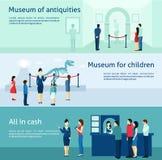Bannières plates de musée archéologique d'antiquité réglées illustration stock