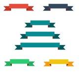 Bannières plates de ruban de couleur réglées illustration de vecteur de conception Images libres de droits
