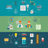 Bannières plates de systèmes d'alimentation d'énergie réglées illustration de vecteur