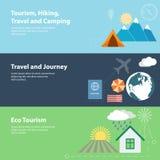 Bannières plates de vecteur avec le tourisme, vacances Photos libres de droits