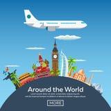 Bannières plates de Web sur le thème du voyage en l'avion, vacances, aventure Vol dans la stratosphère Autour du monde illustration de vecteur