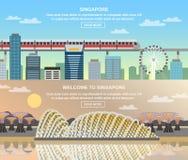 Bannières plates du voyage culturel 2 de Singapour illustration stock