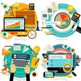 Bannières plates et linéaires de concept Planification de projets, recherchant l'Analytics, le Web recherchant, la conception web image libre de droits