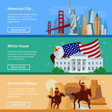 Bannières plates horizontales des Etats-Unis avec le paysage urbain américain d'horizon illustration stock