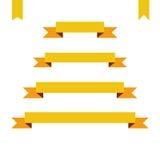 Bannières plates jaunes de ruban réglées illustration de vecteur de conception Image stock