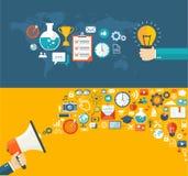 Bannières plates réglées Idée créative et illustrati numérique de vente illustration de vecteur