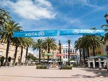 Bannières politiques dans la place de Laguna, Ayamonte, Espagne Images libres de droits