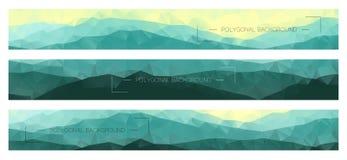 Bannières polygonales abstraites avec des arêtes de montagne Photographie stock