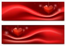 Bannières pour la Saint-Valentin avec le coeur Photographie stock libre de droits