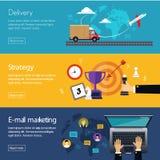 Bannières pour le marketing de Digital de web design, la livraison illustration stock