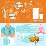 Bannières professionnelles de kit de premiers secours de docteur de concept de médecine Image stock