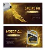 Bannières réalistes d'huile de moteur illustration stock