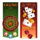 Bannières réalistes de verticale de jeux de casino illustration stock