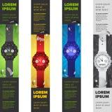 Bannières réglées avec des montres Image libre de droits