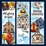 Bannières religieuses de la communauté chrétienne, vecteur illustration libre de droits
