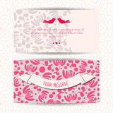 Bannières romantiques mignonnes, carte, calibre de conception d'invitation Photographie stock
