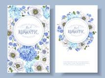 Bannières rondes d'anémone bleue Photographie stock