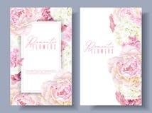 Bannières roses de pivoine Illustration Stock