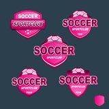 Bannières roses du football d'insigne de vecteur Photos stock