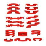 Bannières rouges de ruban réglées photos stock