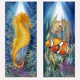 Bannières sous-marines avec l'hippocampe et les poissons Photographie stock libre de droits
