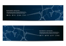 Bannières technologiques et scientifiques avec la structure des particules et de l'atome moléculaires Fond abstrait polygonal Images stock