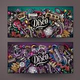 Bannières tirées par la main de musique de disco de griffonnages de vecteur coloré mignon de bande dessinée illustration libre de droits