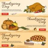 Bannières tirées par la main horizontales de jour de thanksgiving illustration stock