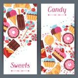 Bannières verticales avec la sucrerie colorée, bonbons et Image stock