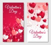 Bannières verticales de jour de valentines avec les coeurs brillants illustration libre de droits