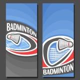 Bannières verticales de vecteur pour le badminton Photographie stock