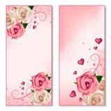 Bannières verticales florales avec des roses Images libres de droits