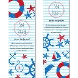 Bannières verticales nautiques réglées de la mer Illustration de vecteur Photos stock