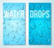 Bannières verticales réglées avec des baisses de l'eau illustration stock