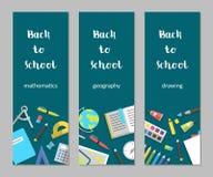 Bannières verticales réglées mathématiques, géographie, fournitures scolaires de dessin de vecteur à plat illustration stock