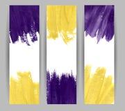Bannières violettes et jaunes d'aquarelle Photos libres de droits