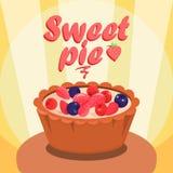 Banni?re d?licieuse de m?dias de Berry Pie Cartoon Social illustration de vecteur