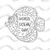 Banni?re pour le jour d'oc?ans du monde avec la belle vue de la faune marine au-dessus du style dessin? d'oc?ans de ` de la terre illustration stock