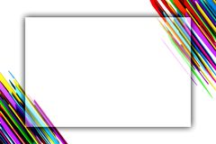 Bannière blanche avec les rayures abstraites colorées aux coins Photo libre de droits