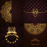 Bannière d'or élégante de cadre Photographie stock