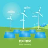 Bannière d'énergie d'Eco Génération de Sun et d'énergie éolienne Photos libres de droits