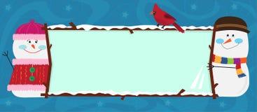 Bannière de bonhomme de neige Photographie stock libre de droits
