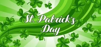 Bannière de jour de Patricks de saint Oxalide petite oseille vert de trèfle et la quatre-feuille Photographie stock