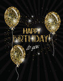 Bannière de joyeux anniversaire avec les ballons à air abstraits d'or Image libre de droits