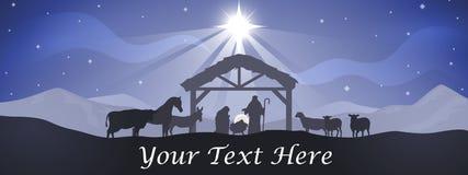 Bannière de nativité de Noël Photos stock