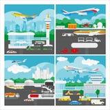 Bannière de vecteur de paysage d'aéroport Photographie stock libre de droits