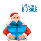 Bannière de vente de Noël avec la bande dessinée Santa Claus tenant une boîte Photographie stock libre de droits