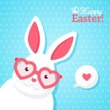 Bannière heureuse de Pâques avec le lapin blanc de hippie Photo stock