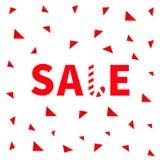 Bannière rouge de canne de sucrerie des textes de vente, faisant de la publicité l'affiche Offre de saison de Joyeux Noël d'hiver Photos stock
